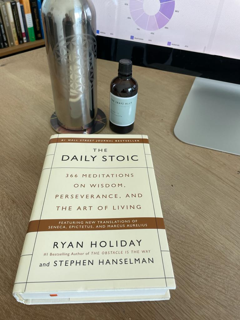 The Daily Stoic on desk